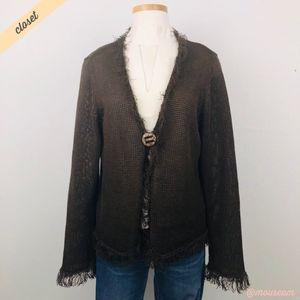 [Chico's] Brown Linen Knit Fringe Cardigan